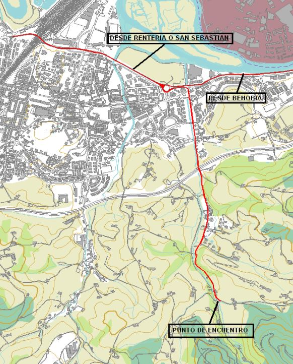 Mapara de acceso Subida a Erlaitz en Rollerski (Castillo del inglés)